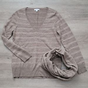 NY&C Striped Sweater and Infinity Scarf Set